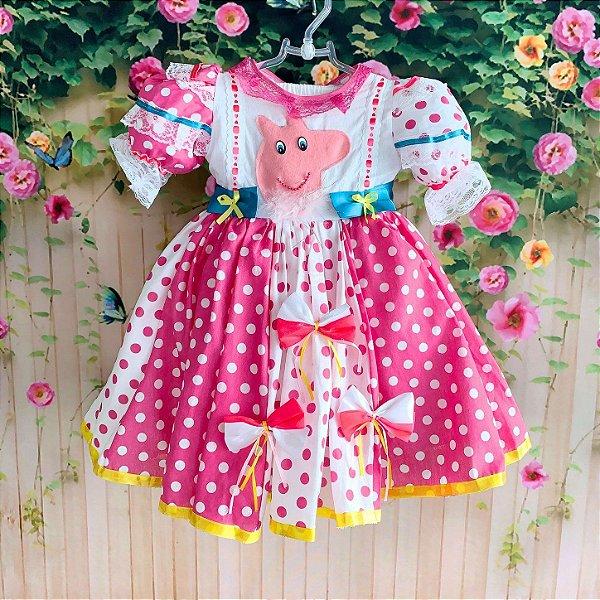 Vestido infantil de festa junina infantil Peppa poá rosa pink e branco