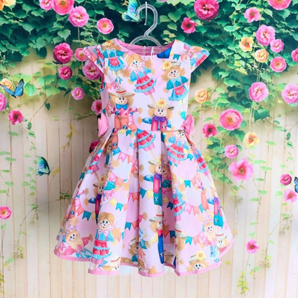 Vestido infantil festa junina Mon Sucré luxo caipira espantalho rosa
