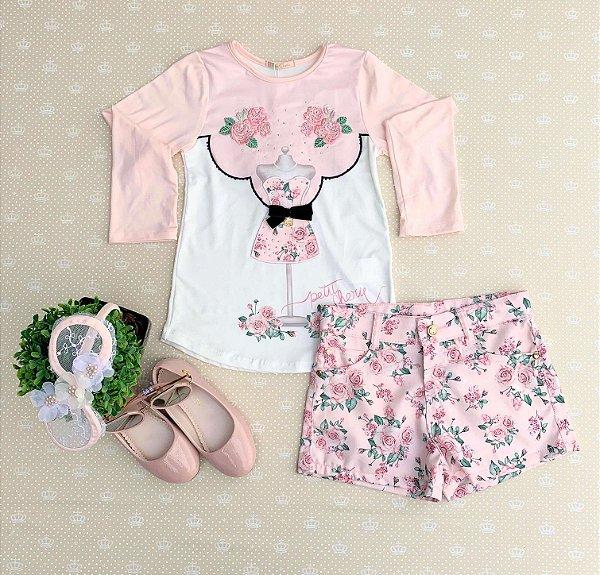Conjunto infantil Petit Cherie inverno blusa com short floral rosa