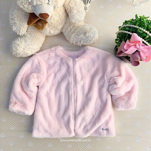Casaco infantil Mon Sucré pelo sintético inverno rosa