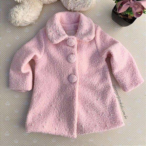 Casaco infantil Petit Cherie sobretudo ibisco com pérola rosa Tam 1