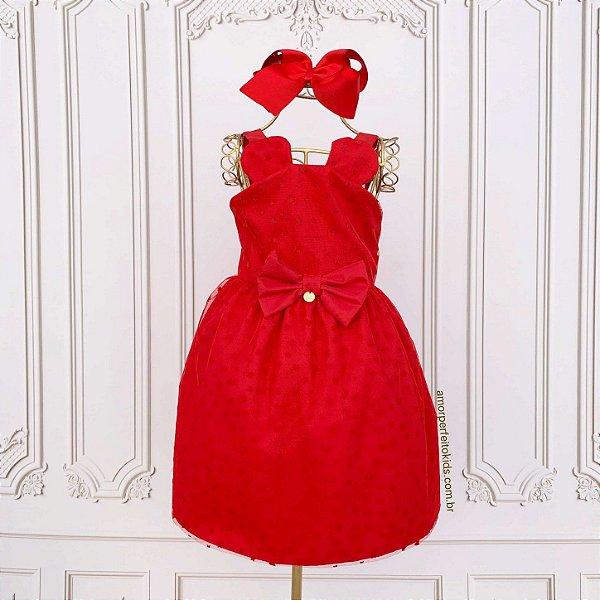 Vestido de festa infantil Minnie em tule vermelho Mon Sucré Tamanho 1