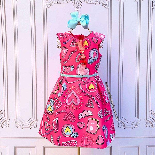 Vestido infantil casual Mon Sucré rede social corações pink Tamanho 2