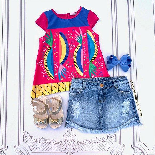 Blusa infantil Mon Sucré tropical abacaxi pink Tam 8