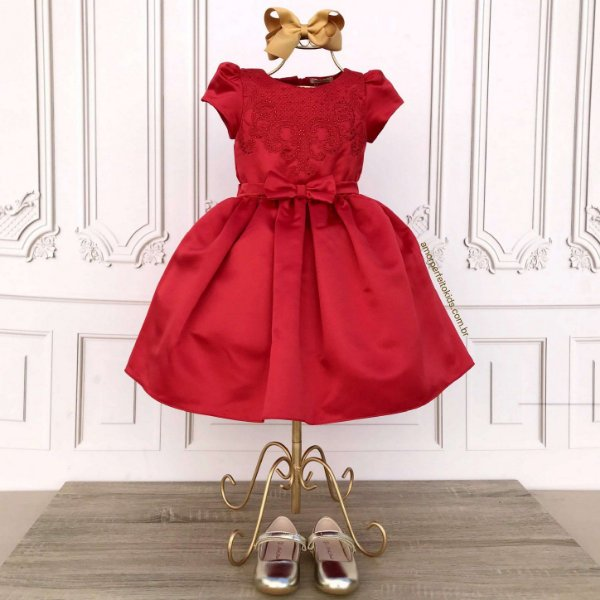 Vestido de festa infantil Petit Cherie vermelho bordado arabescos