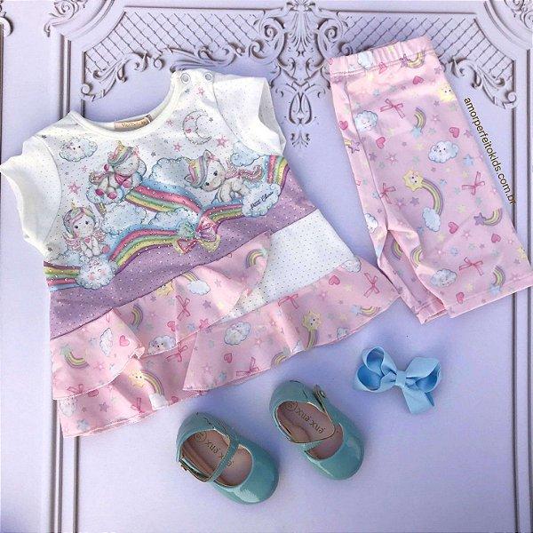 Conjunto de bebê Petit Cherie blusa e legging unicórnio rosa tam M