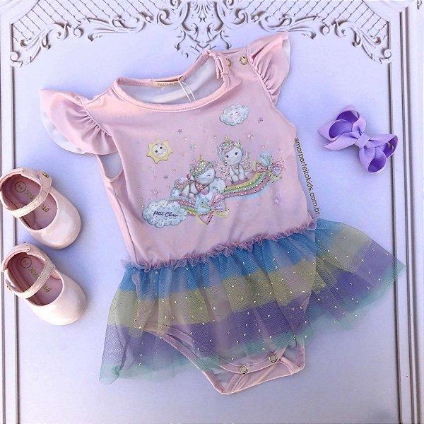 Body bebê menina Petit Cherie unicórnio arco-íris tutu rosa