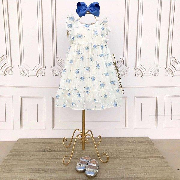 Vestido de bebê Petit Cherie floral delicado off white e azul Tam P