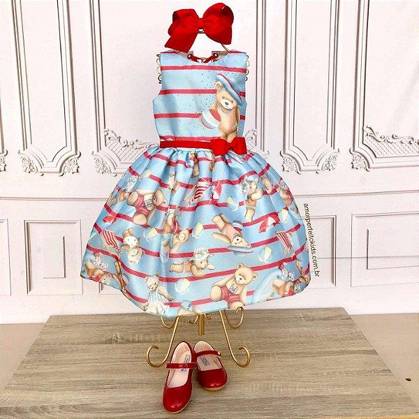 Vestido infantil de festa Petit Cherie ursinhos azul e vermelho tamanho 1