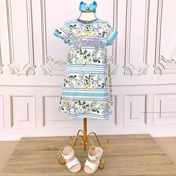 Vestido infantil casual Petit Cherie beautiful floral e listras azul e lilás