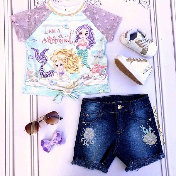 Conjunto infantil Petit Cherie sereia Ariel blusa e shorts jeans