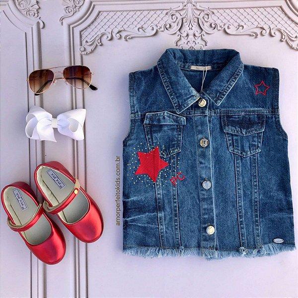Colete infantil Petit Cherie jeans bordado cachorrinho