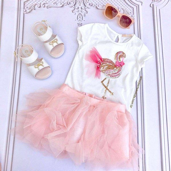 Conjunto infantil Petit Cherie blusa flamingo paetê com saia em tule rosa Tam 1