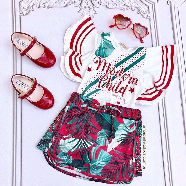 Conjunto infantil Petit Cherie body manga babado com saia folhagem branco e vermelho Tam 2