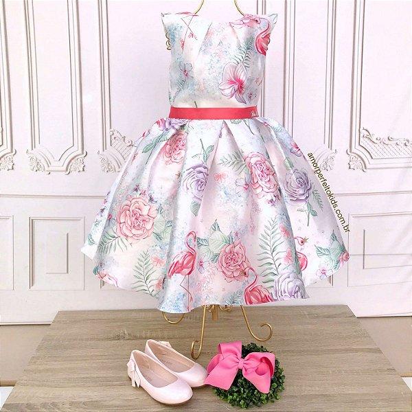 Vestido infantil de festa Petit Cherie flamingo floral tropical rosa Tam 10