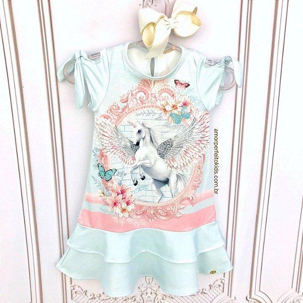 Vestido infantil Petit Cherie casual unicónio com brilho azul claro Tam 14