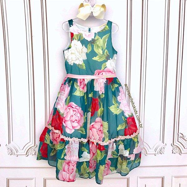 Vestido infantil de festa Petit Cherie floral e folhagem verde