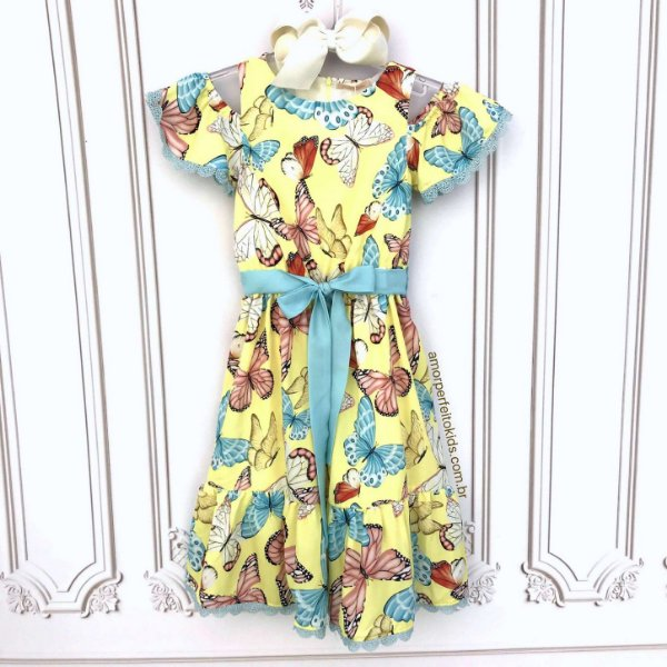 Vestido infantil Petit Cherie casual ciganinha borboletas amarelo