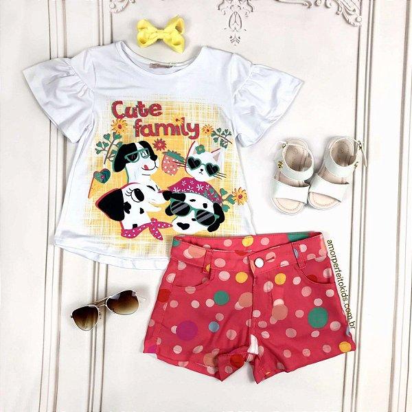 Conjunto infantil Mon Sucré blusa cachorrinho e shorts com bolas coloridas branco e coral