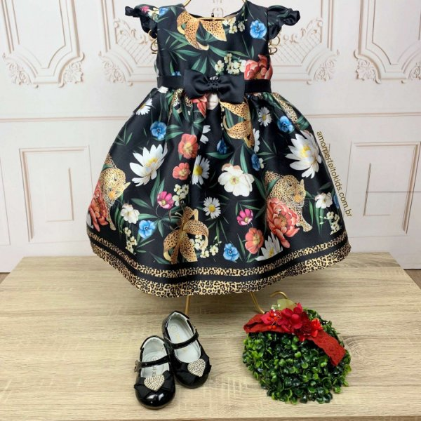 Vestido de bebê festa Petit Cherie oncinha floral preto Tam P