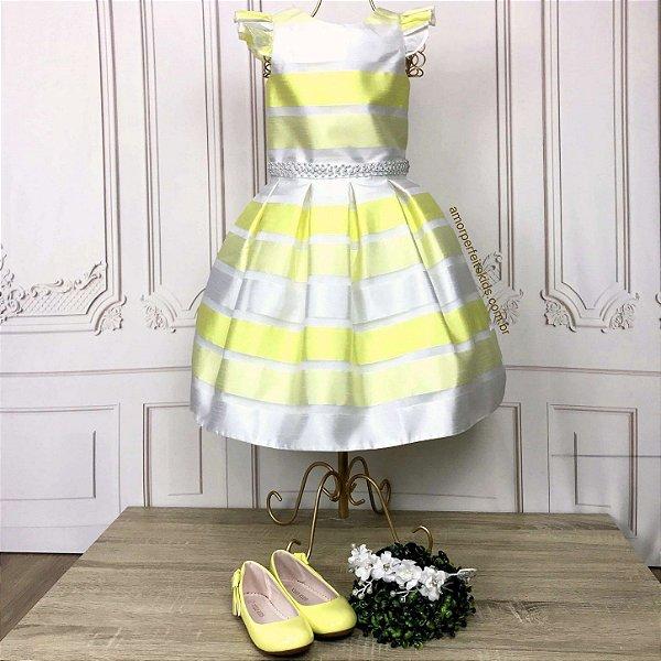 Vestido infantil de festa Petit Cherie listrado neon luxo branco e amarelo