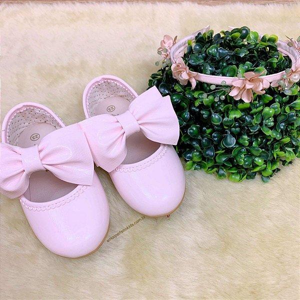 Sapato infantil festa boneca com laço verniz rosa claro Tam 20