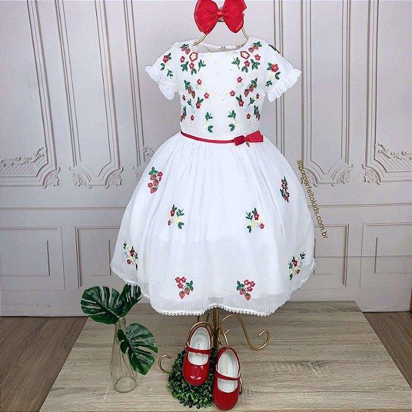 Vestido infantil de festa Petit Cherie moranguinho vermelho bordado branco