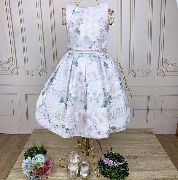 Vestido infantil de festa Petit Cherie floral lilás cinto strass
