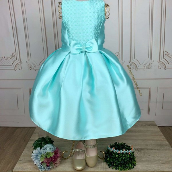 Vestido infantil de festa Petit Cherie verde tiffany sereia Tam 16