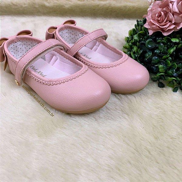 Sapato infantil boneca com laço atrás rose