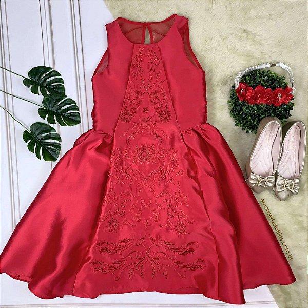 Vestido infantil de festa Petit Cherie arabesco bordado vermelho luxo