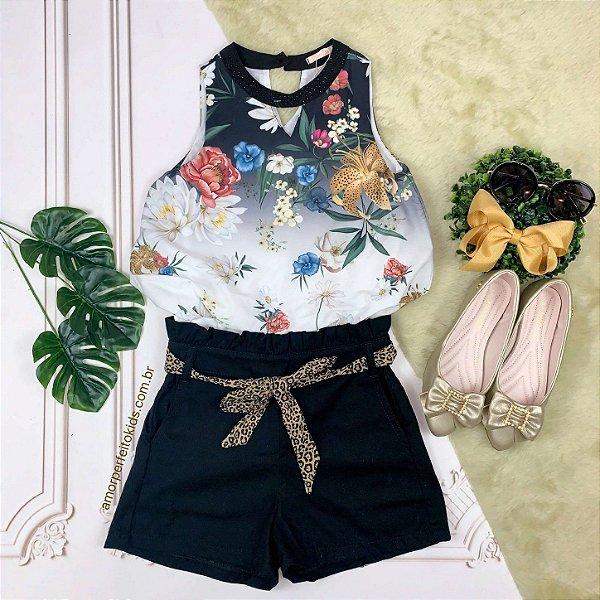 Conjunto infantil Petit Cherie body floral com shorts preto cinto animal print