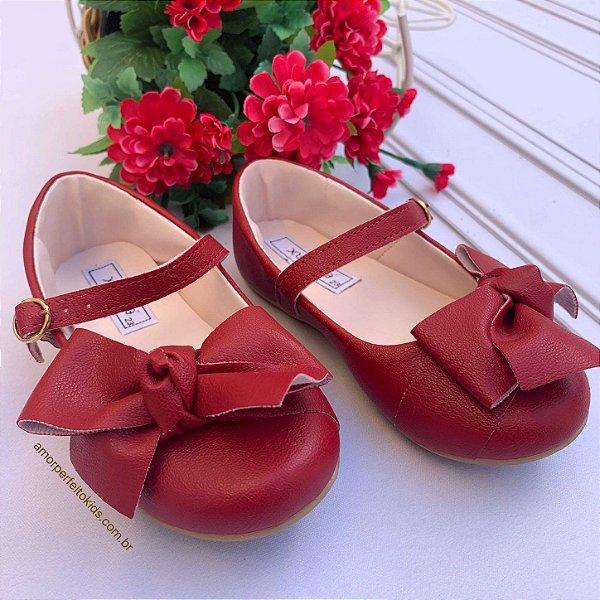 Sapato infantil boneca com laço vermelho do 20 ao 26