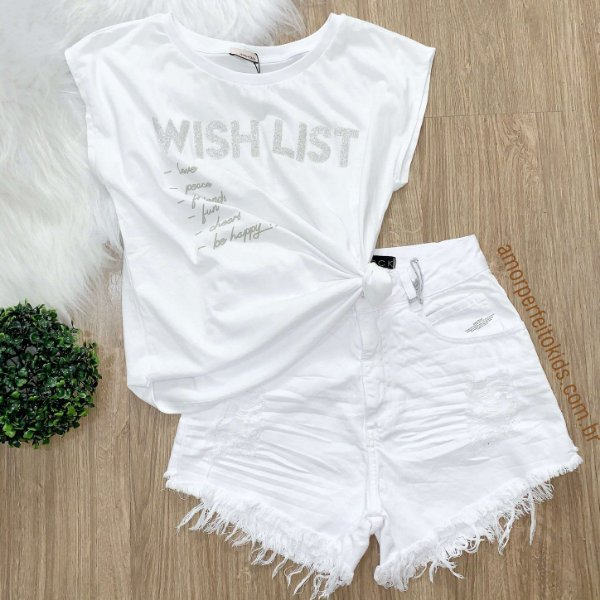 T-shirt teen Vanilla Cream wish list branca Tam 20