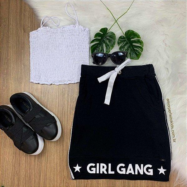 Saia Teen Vanilla Cream midi girl gang preta tumblr