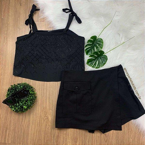 Short Saia teen tumblr AmoFany em linho com bolso na frente preta