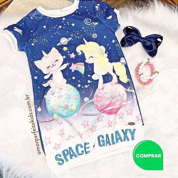 Vestido infantil casual Petit Cherie unicórnio na galáxia azul Tamanho 2