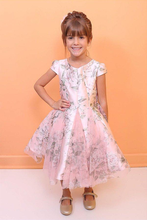 Vestido infantil de festa Petit Cherie floral tule luxo rosa Tam 4