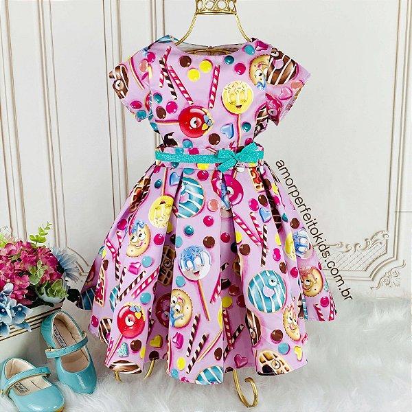Vestido infantil de festa Mon Sucré Moster Sweet lilás