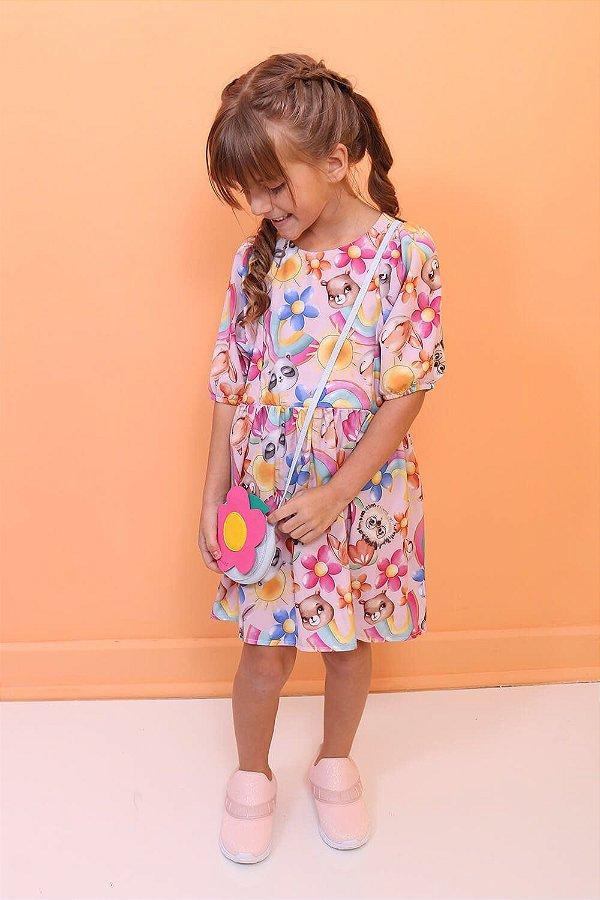 Vestido infantil Mon Sucré Rosa arco íris com bolsinha de flor