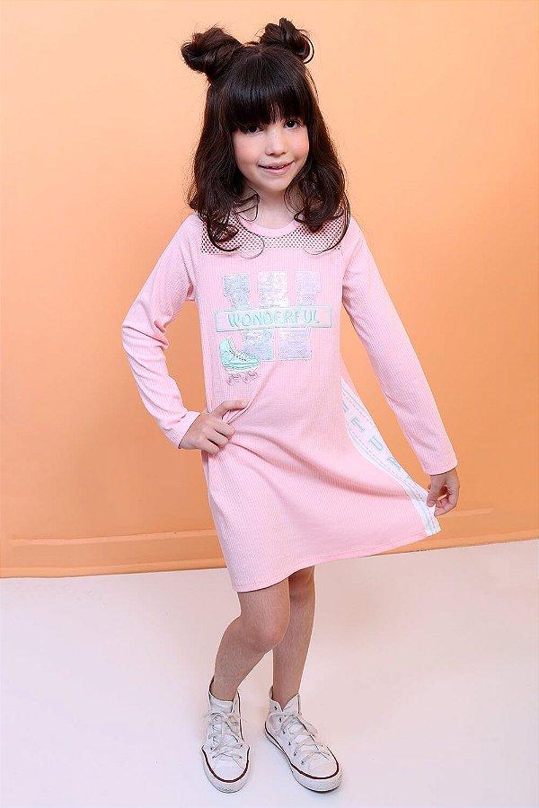 Vestido infantil Petit Cherie Wonderful patins com telinha rosa Tam 16