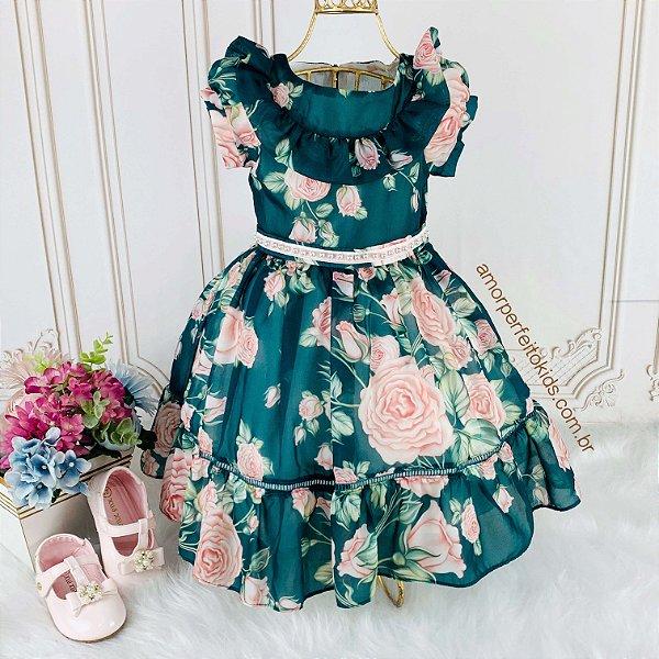 Vestido de festa infantil Petit Cherie toque de seda romantic floral verde e rosa Tam 6