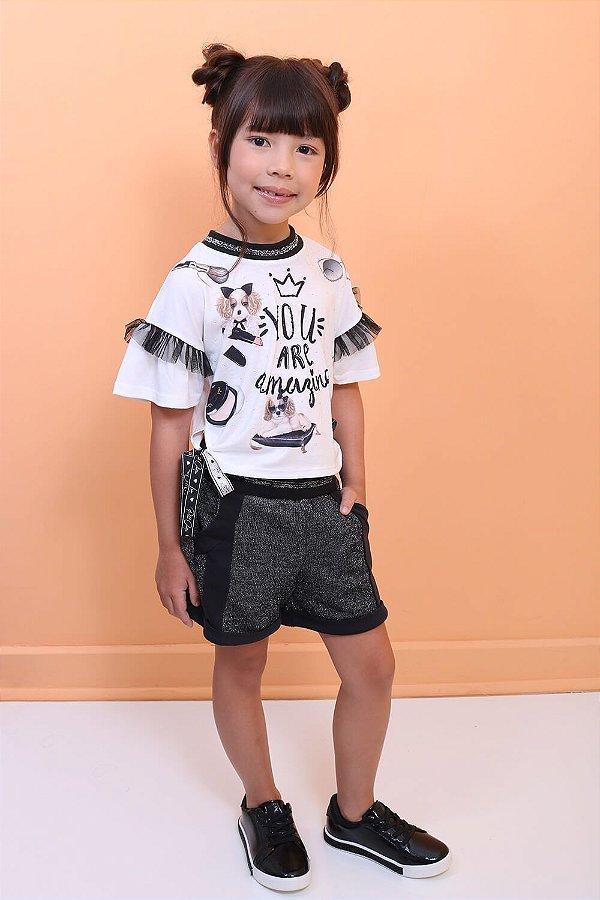 Conjunto infantil Petit Cherie pets blusa e shorts preto com brilho tam 16