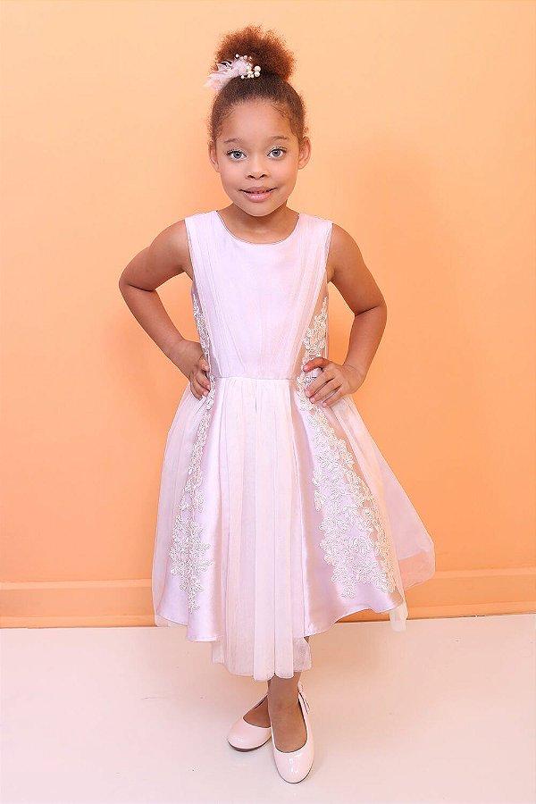 Vestido infantil Petit Cherie luxo com renda guipir e tule liás