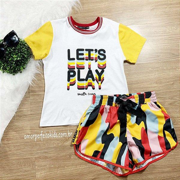 T-shirt teen branca e amarela lets play tumblr Vanilla Cream tam 18