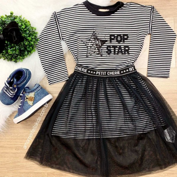 Vestido infantil Petit Cherie com saia de tule pop star fashion tam 2