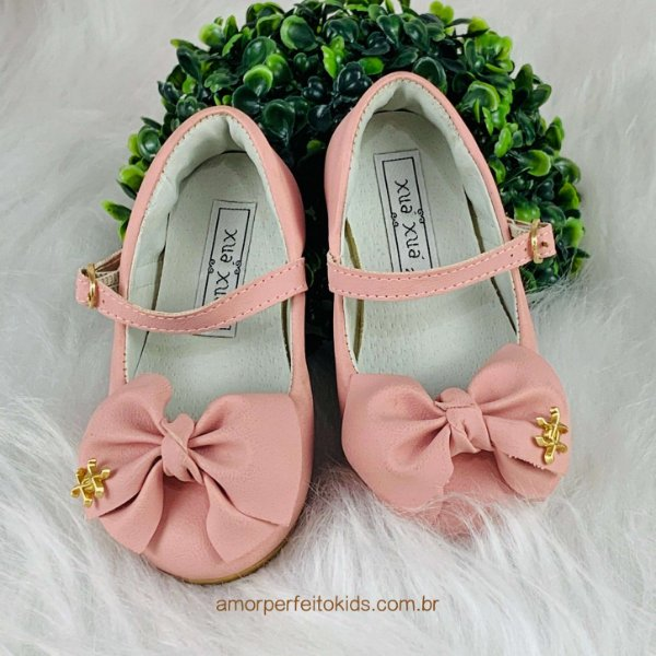 Sapato infantil boneca laço rosa Xuá Xuá tam 21