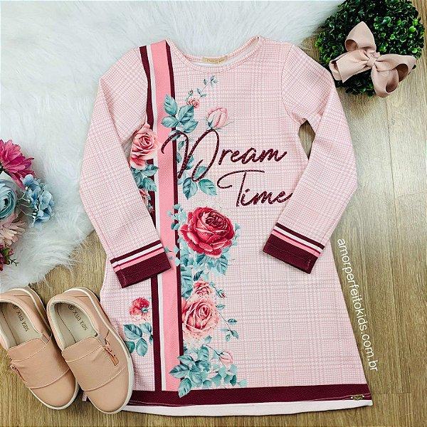 Vestido infantil Petit Cherie casual manga longa floral e xadrez rosa