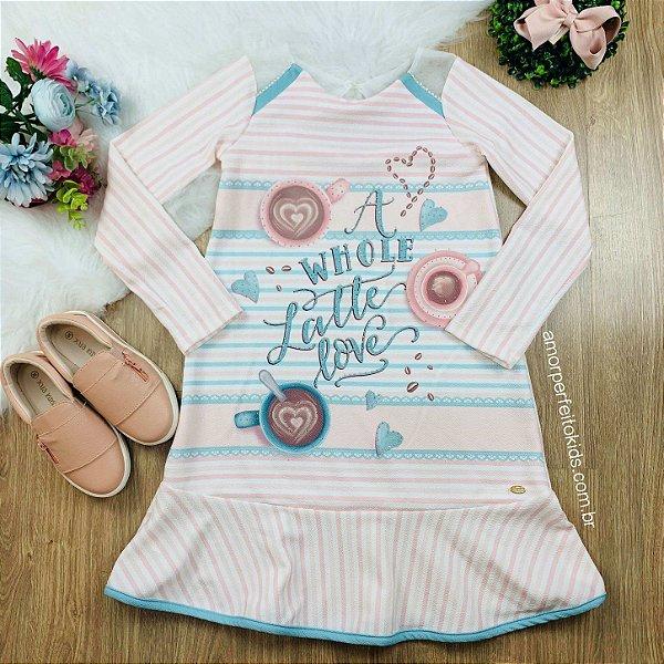 Vestido infantil Petit Cherie casual manga longa listrado candy rosa e azul tam 12