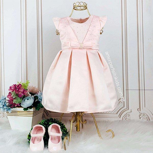 Vestido de festa de bebê Petit Cherie rosa com bordado tam M